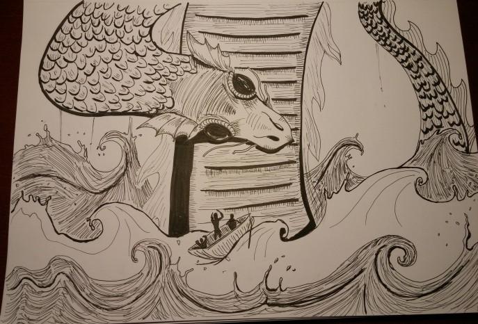 inktober-day-16-lake-monster