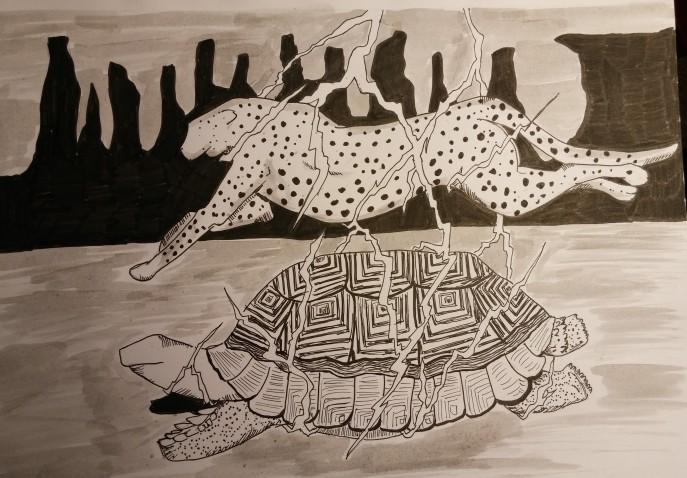 inktober-day-23-tortoise-cheetah-lightning