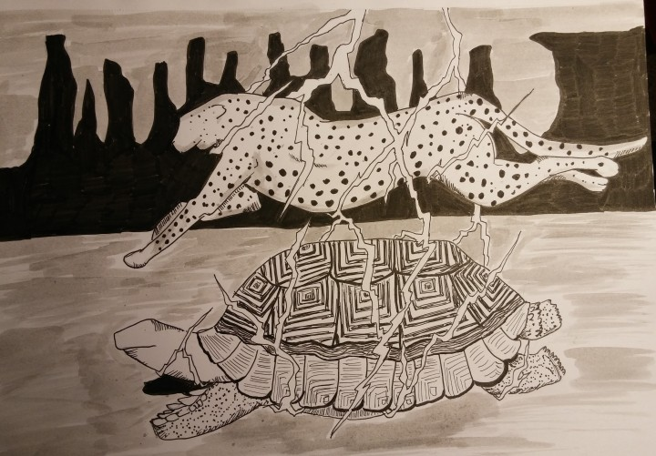 inktober-day-23-tortoise-cheetah-lightning
