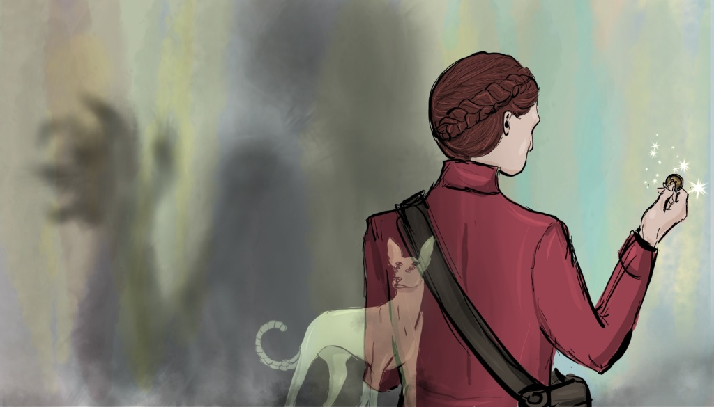 Digital drawing of composite image. On the right is a young woman seen from the back and the waist up, wearing a dark red coat. Her hair is tied in a braid that wreaths her head. Her right hand is holding up a button, which sparkles with some magic. On the left, positioned behind the woman is a vaguely humanoid shadow holding up a hand with mangled fingers. In the middle foreground, not to scale, is the translucent image of a hound standing and facing out. The hound has three pairs of eyes and a curled segmented tail.