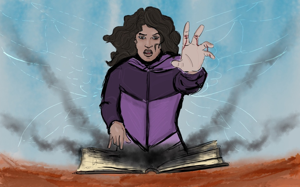Digital drawing of a young woman facing forward seen from the waist up. At waist level is an open book with four streams of black smoke or fog flowing symmetrically out. The woman's right hand points down to the book. She holds her left hand up and out, her fingers sliced and bleeding in the middle. Her mouth is open as if she is speaking. The faint outline of dragonfly wings shimmer behind the woman.