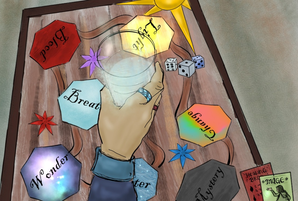 Digital drawing of a game board as seen from above. A hand holding a half-filled glass of water hovers over the board. Two rings are visible on the hand. Printed on the gameboard are seven seven-sided polygons of various colors, randomly scattered across the board and connected by a path. Words are written in ornate lettering within the polygons, some visible, some not. Three dice lie on the gameboard.
