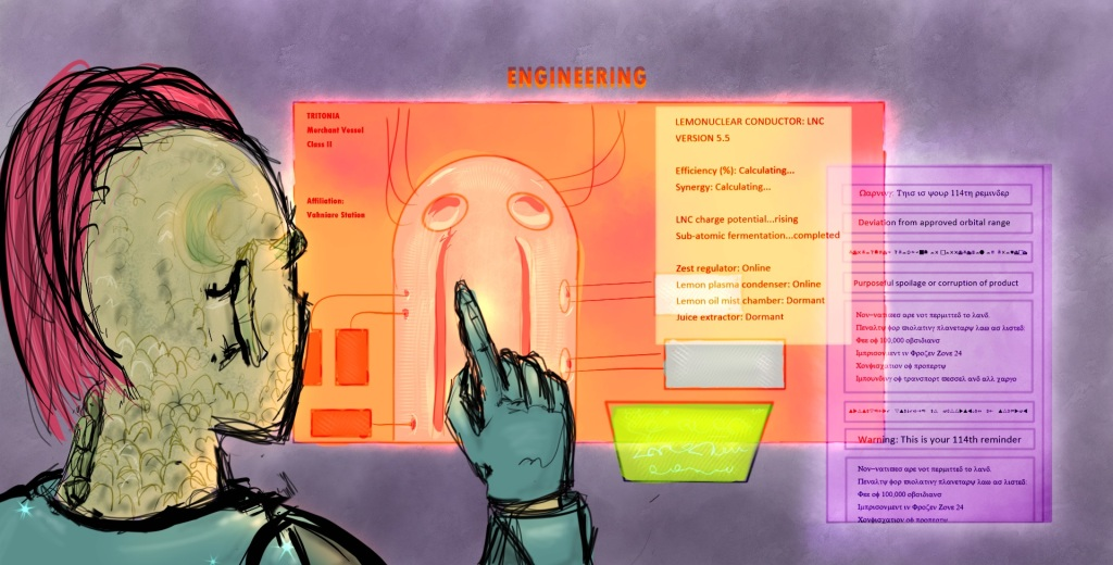 Digital drawing of a humanoid person with a long-haired mohawk and scaly skin on the left, seen from shoulders up and from the back, pointing at a display of multiple glowing holographic displays with various readouts.The main display shows some kind of containment vessel or reactor vessel.