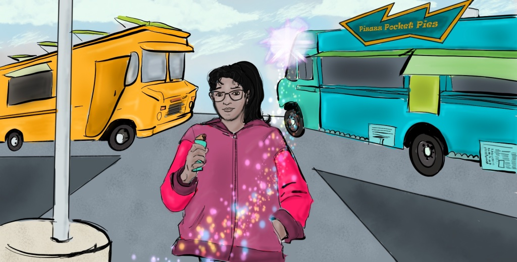 "Digital drawing of a young woman with a ponytail and glasses, seen from the waist up, centered and facing forward.  She's holding a hand pie in her right hand.  Her left hand is in the pocket of her hoodie.  A trail of colorful sparkles crosses in front of her and leads to a burst of light just above her head and to her right. To her right the metal pole of an overhead light in a parking lot and part of the concrete cylinder in which it's anchored is visible. Behind her and flanking her are two food trucks. The one to her left bears a sign that reads ""Pizazz Pocket Pies."""