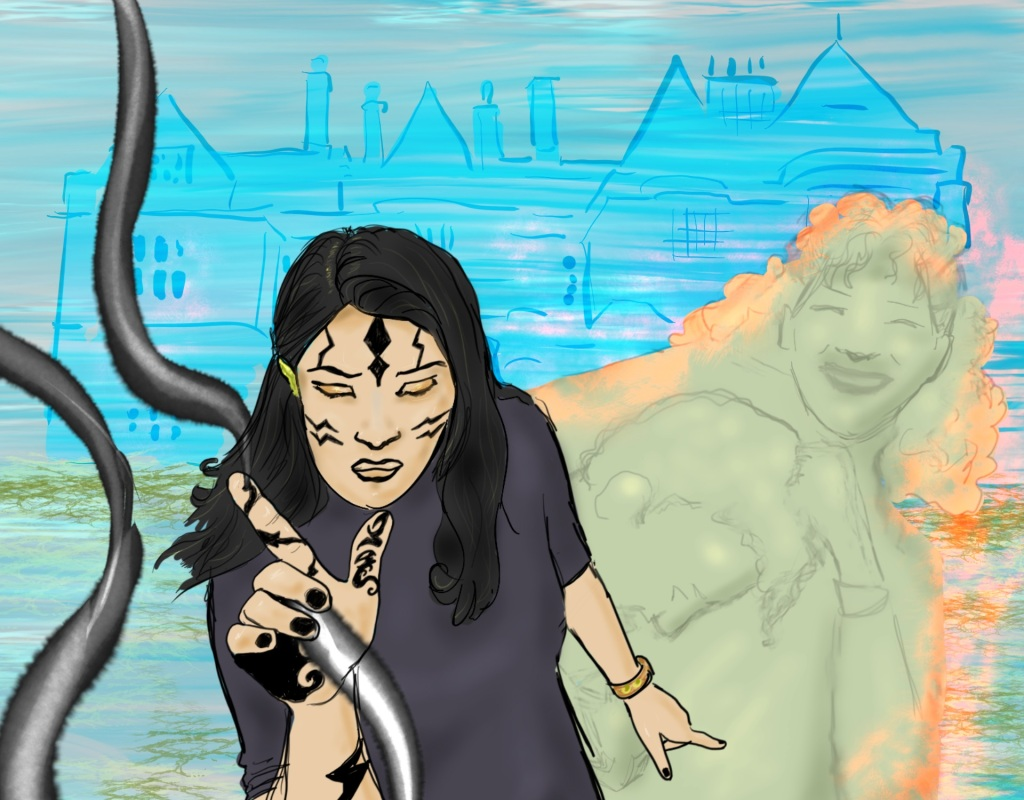 Digital drawing of a young woman facing and leaning forward, seen from the waist up, eyes closed, right hand held out, left arm thrown back. Her face and right hand are tattooed. Silvery-black streams flow all around her.  Behind her to her right are the spectral figures of a smiling young woman holding a young man in a headlock, surrounded by orange light.  Behind all of them is the faint facade of a manor house.