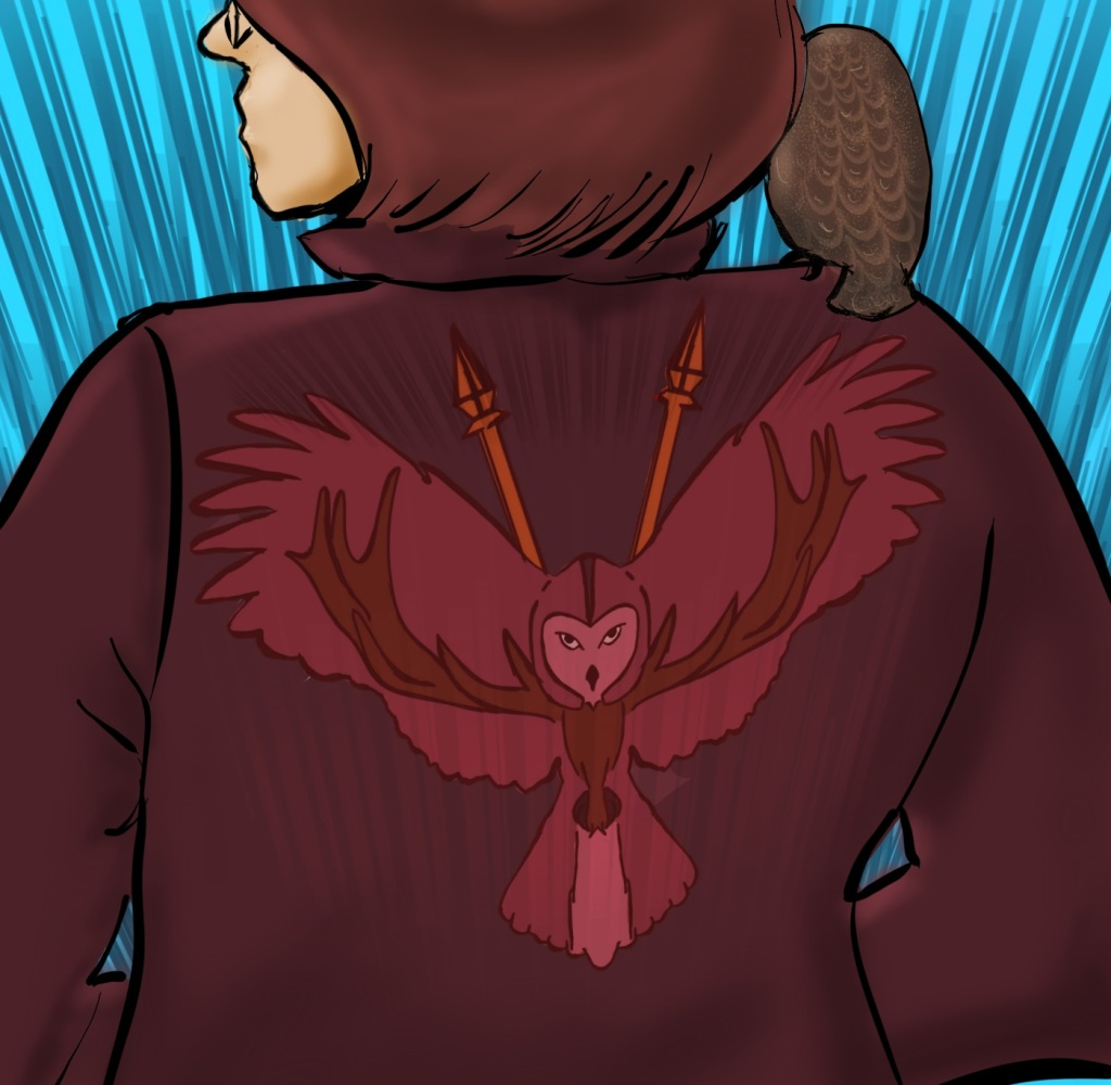 Digital drawing. A young woman with glasses and a bob stands with her back to the viewer and her hands in the pockets of her jacket. She is seen from waist up to the bridge of her nose. Emblazoned on the jacket's back is a symbol: an owl with wings outspread, as if swooping down to a landing, antlers extending along the inside of the owl's wings, and two spears rising from behind the owl. On the woman's right shoulder is perched a bird that looks like a small owl.