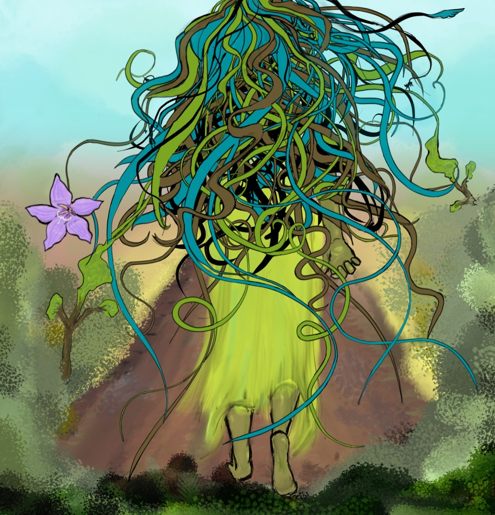 Digital image of a person seen from the back walking away. The person is barefoot and wearing a flowing skirt or dress. Wavy and curling strands of hair in different muted colors flow outward and back from the head, entirely obscuring the top half of the body. One strand on either side is connecting to the tops of trees and appears to be absorbing the trees. A strand on the left is connected to a purple flower with five petals, a rampion bellflower. Hazy foliage frames the bottom half.