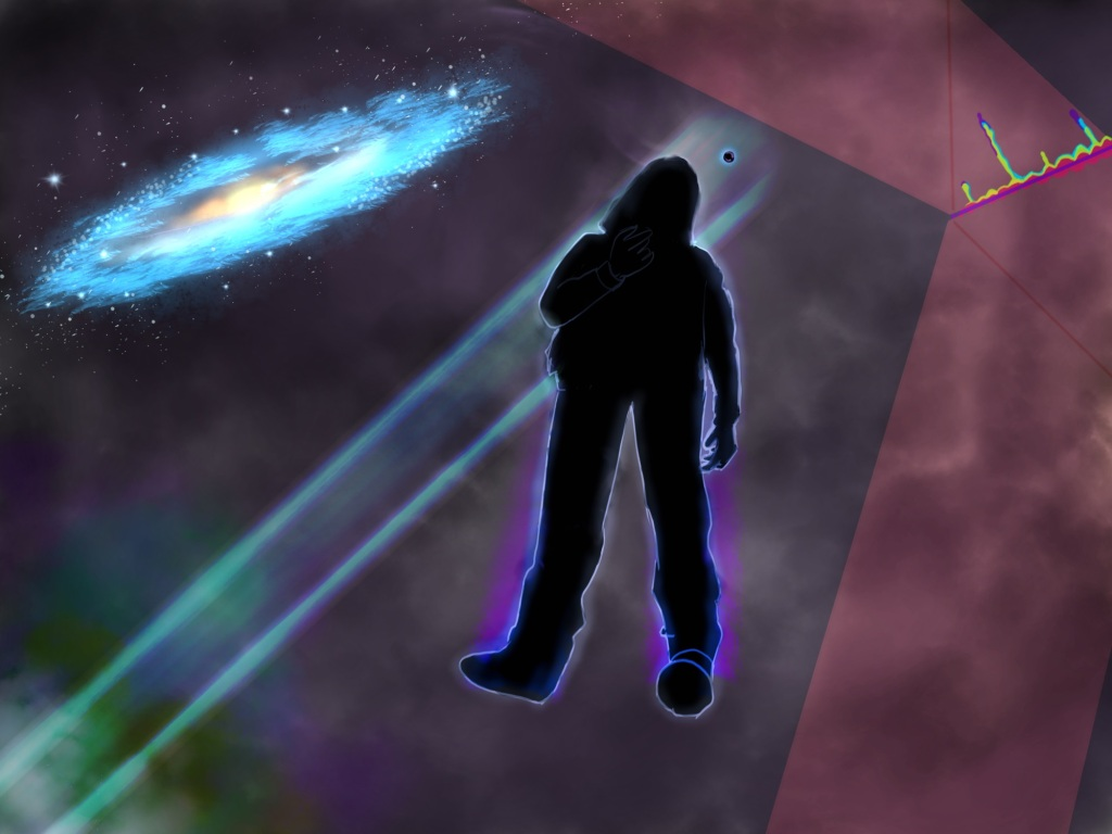 Digital drawing. Silhouette of a person who appears to be standing in mid-air, seen from a low angle. The person is wearing pants and a hoodie, and a raising up right arm. Just above the left shoulder is a small black circle, glowing slightly. A multi-colored hazy bar of light originates from the circle, passes behind the figure, and angles to the bottom left corner, into a multi-colored gas cloud that leads into a fog. At top left corner a disc-shaped galaxy, the Milky Way. A translucent peach-colored bar angles up from the bottom right to the top right. Another similar bar angles to the left from the right side. A squiggly neon line connects the two bars. Colors drip upward where the two bars meet.