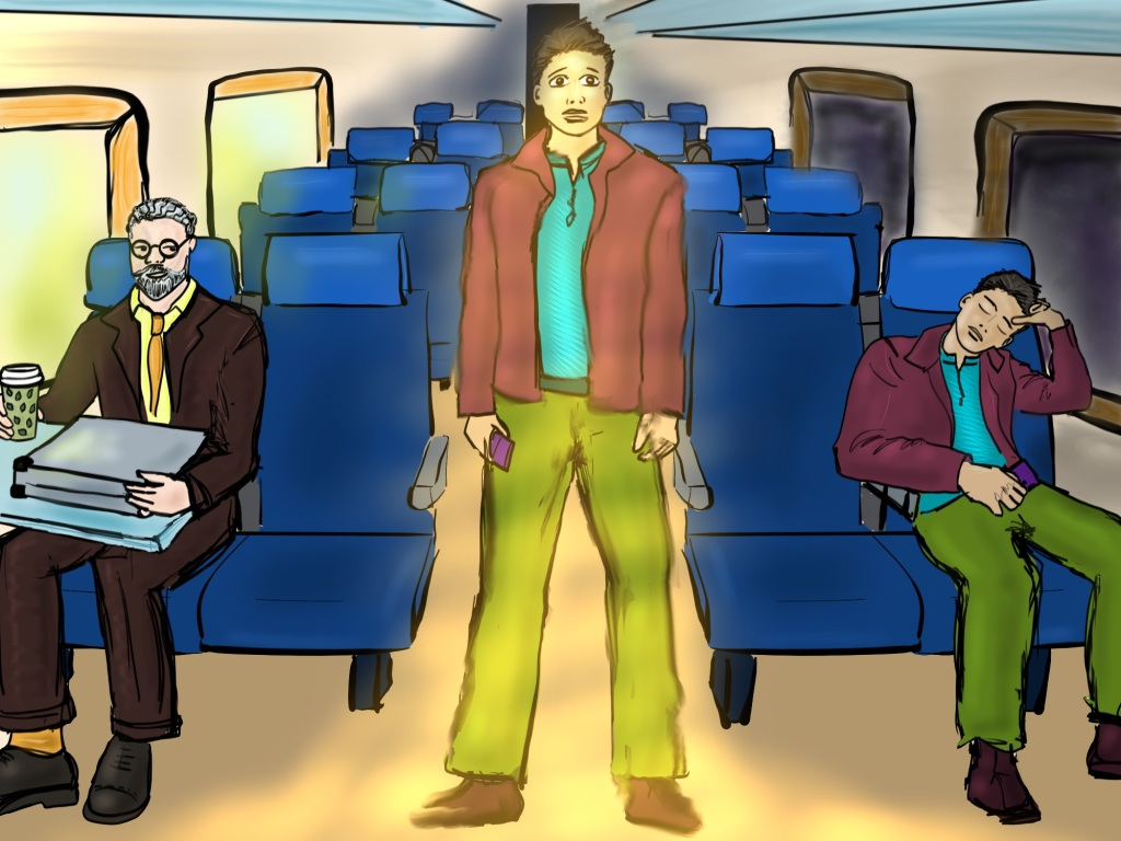 Digital drawing. View down the middle of a train car. Several seats are visible, but only two are occupied. On far right, a young man is asleep, his left elbow propped on the window edge, his head resting in his hand. His other hand lies on his lap, holding an object that looks like a cell phone. It's dark outside the windows. On far left, an older man with a table attachment folded up, holds a cup of coffee in his right hand. His left arm and hand are curled around a briefcase that lies on the table. He's glancing to his left. It's bright outside the windows. At center, standing in the aisle is the same young man who's seen sleeping. He is surrounded by a glowing light. His arms hang by his side. He's still holding his cell phone. His expression looks scared.