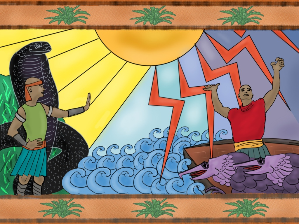 """Digital drawing. A depiction on a tapestry or scroll. At left, a man stands in front of a cobra that is larger than him. Both face to the right. The man holds his right hand on his hip and holds his left hand out palm forming a """"stop"""" gesture. They stand on a green shore with bright blades of grass. At right, a man in a boat raises his hands and face to the sky. Before him two strange beasts with hooked beaks and feathery scales stare to the left. Between boat and shore are stylized curls depicting waves. Top center, the bottom half of a circle that depicts the sun. Bright rays beam to the left, bolts of lightning fan out to the right. The sky at center is blue, but darkens from left to right between the bolts. Top and bottom borders depict a pattern, the tops of palm trees."""