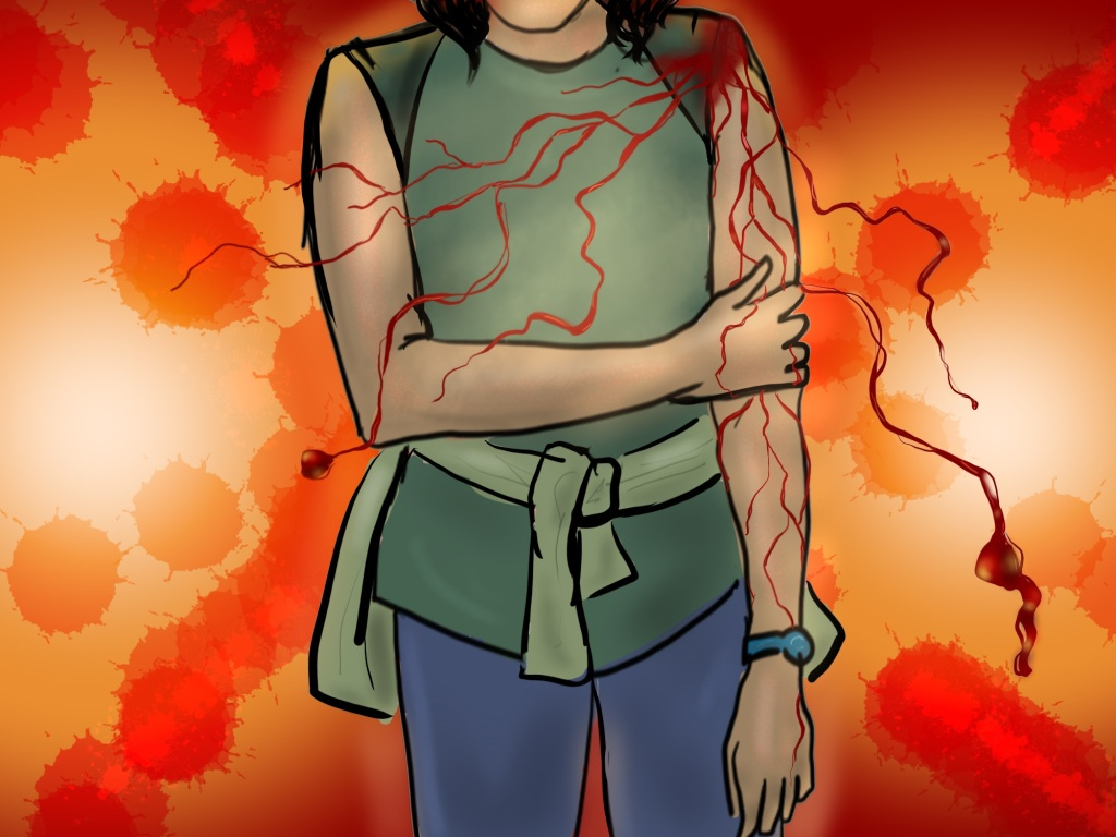 Digital drawing. At center, figure seen from chin to mid-thigh, wearing a top with no sleeves, a shirt or blazer tied around the waist, and a watch around the left wrist. The ends of the figure's short hair dangle just below the chin. The right hand grips the left at the elbow. The left arm dangles. Rivulets of blood trickle from a wound at the left shoulder. They trickle down the arm, but also float across the body and out from the arm. Behind the figure is a glowing background with spatters bursting out from the center.