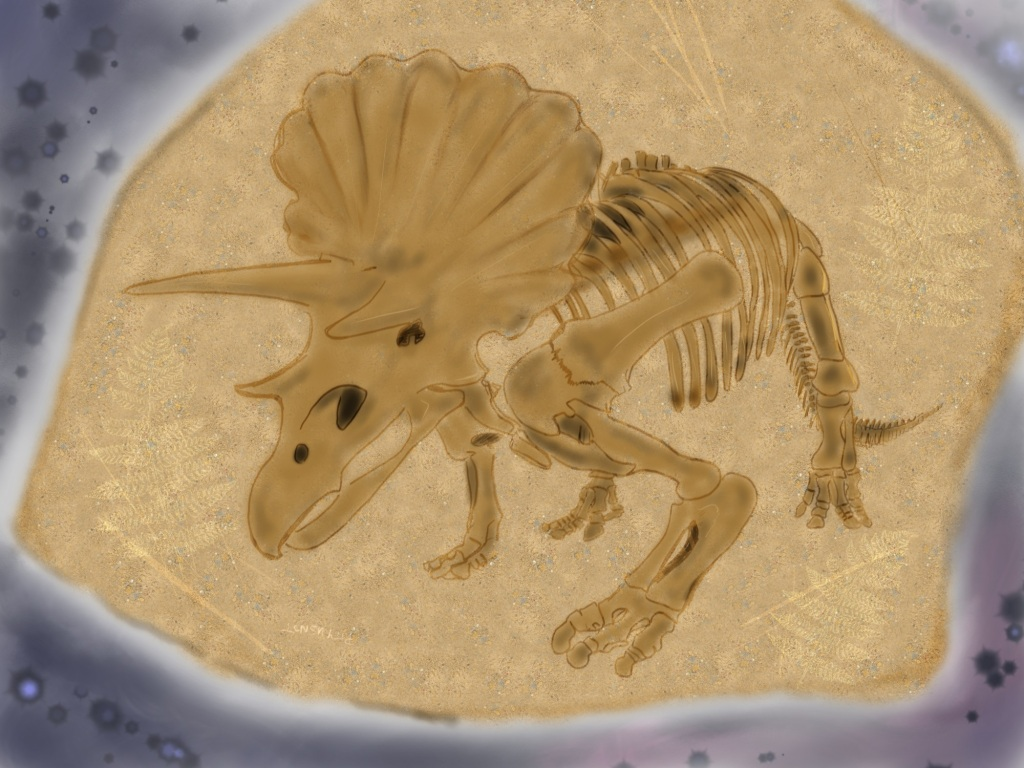 Digital drawing. The fossil of a triceratops, seen head on from a three-quarters profile, facing left, is either etched in a sandy stone slab, or is standing in front of the slab. The slab is etched with scratches and fern leaf stems.
