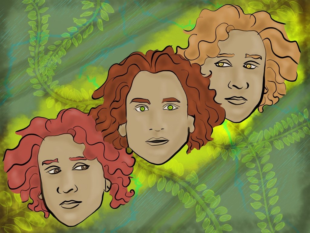 Digital drawing. Three faces depicting the same young adult person with slightly different hair and eye colors. The hair is mid-length and wavy. The face at center faces and looks forward with mouth slightly parted. Below and to the right the central face, the same face is turned slightly away from center, but with eyes turned toward center. Above and to the left of the central face, the same face is again turned slightly away, but with eyes turned toward center. The faces are surrounding by a misty glow. Behind the faces, vines or branches bearing leaves, faint lightning and rain, spread across the background.
