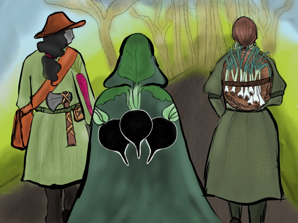 Digital drawing. Three people seen from the back walking down a path that leads toward barren-branched trees in the distance. The figure on the left glances to the right, has long wavy hair, wears a coat with a purple carrot patch along the right arm, a satchel hanging from right shoulder across the body, and a belt on which hangs a pouch and an axe. The middle figure walks slightly behind the others and wears a cloak with the hood raised. Three black radishes are depicted on the back of the cloak with the leaves laying over the shoulder and one extending into the hood. The figure on the right wears a basket full of green garlic.