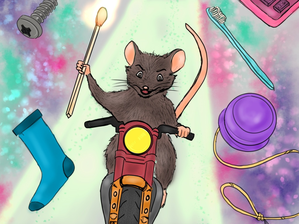 Digital drawing. At center, a mouse riding a motorcycle down a glowing pathway, facing forward, left paw on the pedal and right paw holding a lit matchstick. Objects float in the space around the mouse. At top left, a screw. Bottom left a sock. Top right corner, part of some device with buttons. Below that, a toothbrush. Middle right, a yo-yo.