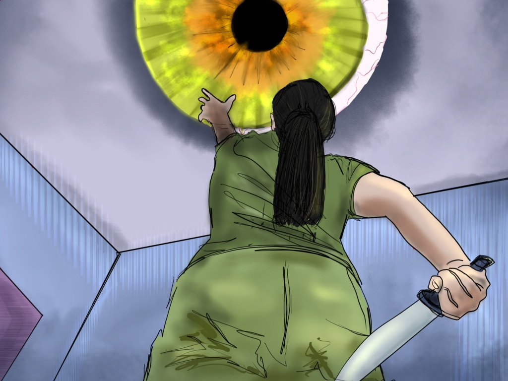 Digital drawing. Central figure, a woman, her top half, seen from below at an angle. She's facing away standing in a room where the ceiling and parts of two walls intersect at her left, around waist level. The woman wears pants and a t-shirt and her hair in a ponytail. She holds a carving knife in her right hand, held down and behind herself. Her left hand reaches up towards a huge eye in the ceiling. Most of the iris and a small portion of the whites are visible.