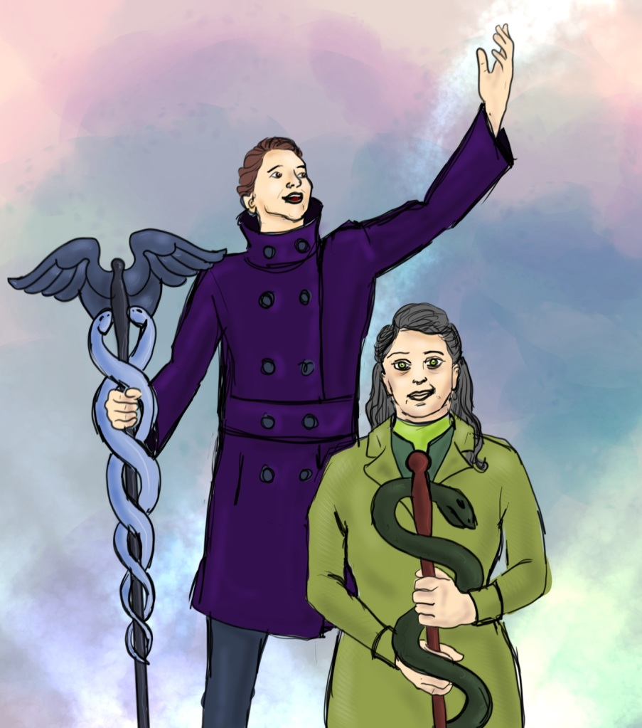 Digital Drawing. Two human figures wearing heavy coats. Bottom right, an older woman facing forward and smiling. She holds a rod of Asclepius in front of her with both hands. Behind her and to the viewer's left, a young man holding a caduceus in his right hand, and flourishing his left hand up. His head is turned toward his left hand. They are surrounded by glowing colored lights.