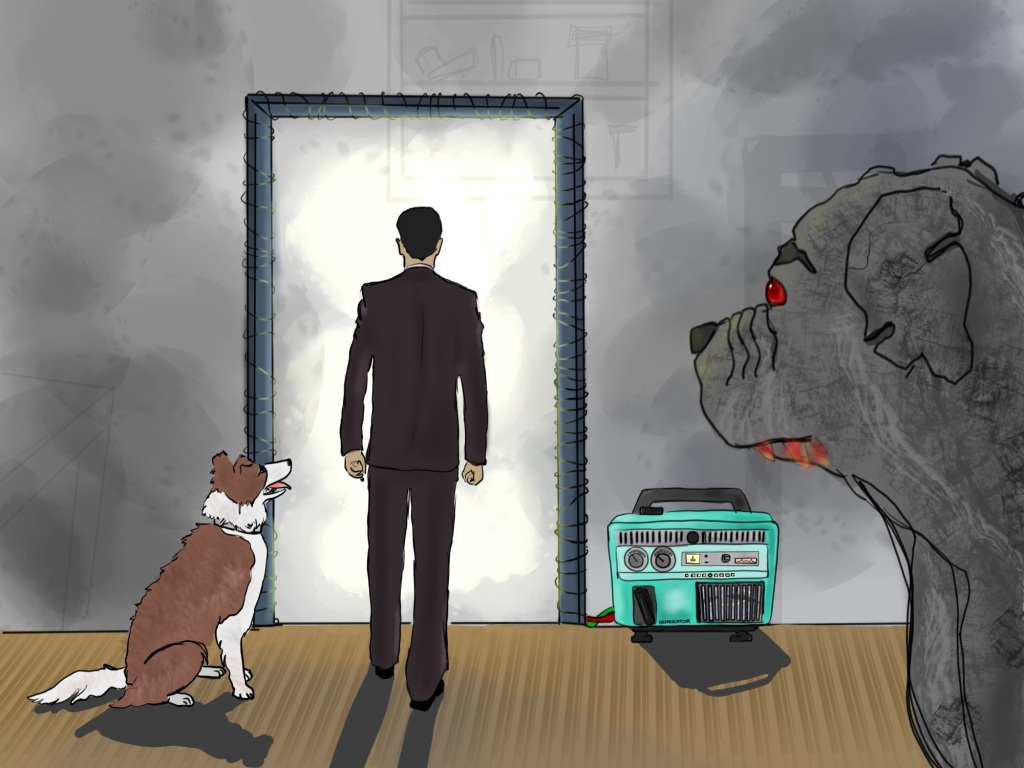 Digital drawing. Slightly left of center, a man in a suit seen from the back steps toward a detached doorway into a hazy light. Sitting up at his left is a dog with tongue lolling out, gazing up at the man. To the right is a portable generator. Wires lead from the generator and wrap around the doorframe. The dog, man, and generator cast shadows. The doorframe does not. Right foreground, another dog seen in profile from head to top of chest, with red eyes, notches in the ears, and red spittle dripping from the mouth, staring at the man. Faint outlines of shelving are seen in the background.