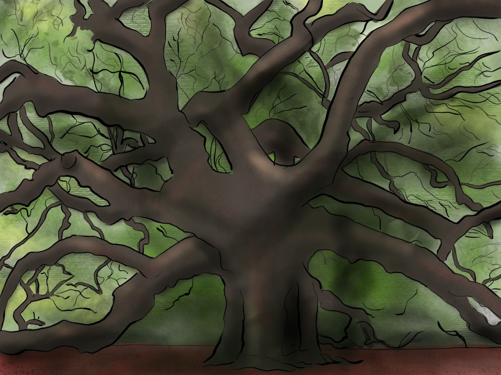 Digital drawing. An oak tree at center whose six visible main branches spread in all directions, some dragging on the ground, some reaching upward, some reaching outward.  Diffuse patches of green in the background suggest leaves sprouting from the thinner branches.  A thin dark haze lays along the ground. A vaguely humanoid shadow floats beside the tree.