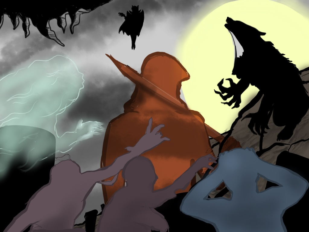 Digital drawing. Composite of several figures in silhouette. Bottom foreground left and center, two figures from chest up with various missing limbs and digits reach to the right. They are zombies. Bottom foreground right, a figure from chest up holding both hands against their head. Shadows representing gravestones lie at angles behind him. Left moving into frame is a ghostly cloud in which the outline of a face and a hand are visible. Right of frame, sitting on an outcropping, a werewolf howls against a glowing moon. Top center floating in the sky, a vampire wearing a cloak and reaching out. At center from back, a hooded figure from torso up holding a long stake propped over the right shoulder. Upper left corner, a patch of stalactites.